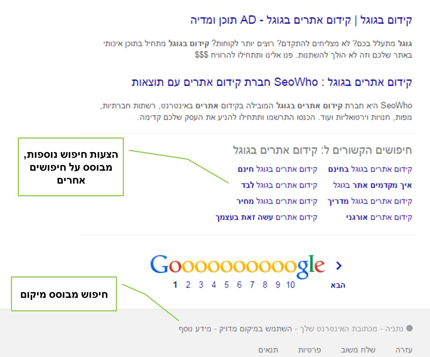דף תוצאות החיפוש של גוגל